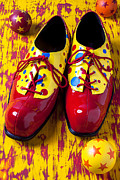 Funny Shoe Prints - Clown shoes and balls Print by Garry Gay