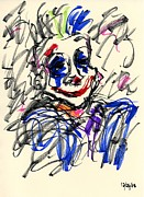 Punk Drawings Posters - Clown Thug I Poster by Rachel Scott