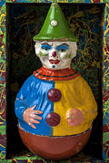 Old Clown Toy Framed Prints - Clown toy in box Framed Print by Garry Gay