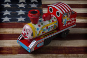Folk Art American Flag Posters - Clown train Poster by Garry Gay