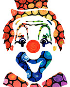Smiling Mixed Media Prints - Clownin Around - Funny Circus Clown Art Print by Sharon Cummings