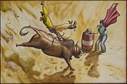 Bull Riding Paintings - Clowning Around  by Tim Prock