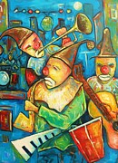 Playing Painting Originals - Clowns in Trio by Damien Cruz