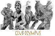 Neptune Drawings Prints - Club Olympus Print by Greta Corens