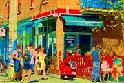 Montreal Restaurants Paintings - Club Social Sports Bar Rue St Viateur Et Esplanade Mile End Montreal Bistro Scene Carole Spandau by Carole Spandau