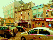 Montreal Memories. Paintings - Club Soda  Bar Salon Midway Montreal Pool Room St Laurent Tavern Hotdog Resto City Scenes C Spandau by Carole Spandau