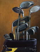 Golf Ball Painting Originals - Clubs in Bag by Viktoria K Majestic