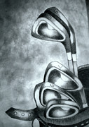 Golf Drawings Metal Prints - Clubs Metal Print by Jalal Gilani