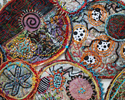 Embroidered Tapestries - Textiles - Cluster detail by Christine Sauer