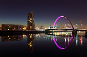 Glasgow Scotland Cityscape Framed Prints - Clyde arc cityscape night reflection Framed Print by Grant Glendinning