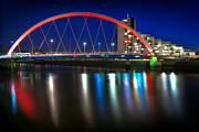 Glasgow Scene Framed Prints - Clyde Arc Glasgow at night Framed Print by John Farnan