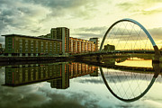 Glasgow Scene Framed Prints - Clyde Arc Squinty Bridge Framed Print by John Farnan