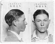 Fbi Prints - Clyde Barrow Mugshot Print by Daniel Hagerman