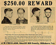 Bank Robber Posters - Clyde Barrow Wanted Poster Poster by Unknown