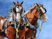 Farm Team Paintings - Clydesdale Duo by Debbie Hart