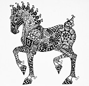 Horse Images Drawings Prints - Clydesdale Foal - Zentangle Print by Jani Freimann