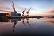 Landscape Prints Framed Prints - Clydeside Cranes long exposure Framed Print by John Farnan