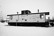 Caboose Photo Prints - CN Caboose at CN Trackside gardens used as a community project Kamsack Saskatchewan Canada Print by Joe Fox