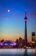 Architecture Posters - CN Tower at Dusk Poster by Inge Johnsson