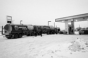 Sask Prints - co-op double tanker fuel delivery to gas station in rural Kamsack Saskatchewan Canada Print by Joe Fox