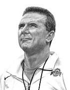 Football Drawings Prints - Coach Meyer Print by Bobby Shaw