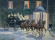 Christmas Scene Framed Prints - Coaching at Hurlingham Framed Print by Ninetta Butterworth