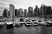 Overcast Day Photo Prints - coal harbour marina and high rise apartment condo blocks in the west end Vancouver BC Canada Print by Joe Fox