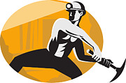Miner Posters - Coal Miner With Pick Ax Striking Retro Poster by Aloysius Patrimonio