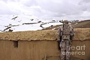 Coalition Forces Visit The Hazaran Print by Stocktrek Images