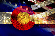 Merged Mixed Media Posters - COAmerican Flag Poster by Tracy E Clark