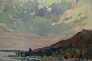 A Summer Evening Landscape Painting Prints - Coast at sunset Print by Juliya Zhukova