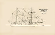 Tall Ship Drawings Prints - Coast Guard Cutter Alexander Hamilton Print by Jerry McElroy