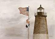 American Flag Painting Originals - Coast Guard by Monte Toon