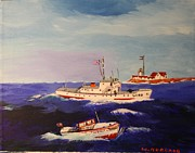 Eastern Point Paintings - Coast Guard Search and Rescue by Bill Hubbard