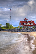 Piers Prints - Coast Guard Station in Muskegon Print by Debra and Dave Vanderlaan
