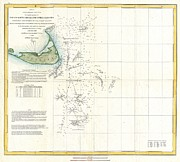 Fog At Sea Prints - Coast Survey Map of Nantucket and the Davis Shoals Print by Paul Fearn