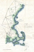 New England Coast Line Posters - Coast Survey Map of New England Poster by Paul Fearn