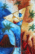 Volcano Originals - Coastal Art Contemporary Tropical Martini Painting Whimsical Design ISLAND MARTINI by MADART by Megan Duncanson