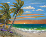 Tropical Sunset Painting Framed Prints - Coastal Breeze Framed Print by Gordon Beck
