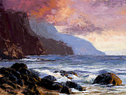 Pallet Knife Painting Posters - Coastal Cliffs Beckoning Poster by Mary Giacomini