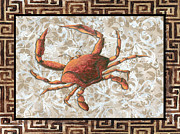 Unique Art Posters - Coastal Crab Decorative Painting Greek Border Design by MADART Studios Poster by Megan Duncanson