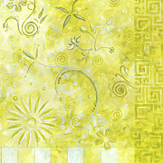 Abstract Painting Metal Prints - Coastal Decorative Citron Green Floral Greek Checkers Pattern Art GREEN WHIMSY by MADART Metal Print by Megan Duncanson