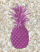 Licensed Paintings - Coastal Decorative Pineapple Painting Kitchen Bath Decor by MADART Studios by Megan Duncanson