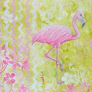 Licensed Paintings - Coastal Decorative Pink Green Floral Chevron Pattern Art FLAMINGO DANCE by MADART by Megan Duncanson
