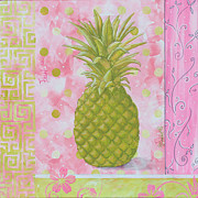 Decor.pink.green Flowers Posters - Coastal Decorative Pink Green Floral Greek Pattern Fruit Art FRESH PINEAPPLE by MADART Poster by Megan Duncanson