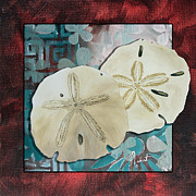Coastal Art Posters - Coastal Decorative Shell Art Original Painting Sand Dollars ASIAN INFLUENCE I by Megan Duncanson Poster by Megan Duncanson