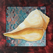 Coastal Art Posters - Coastal Decorative Shell Art Original Painting Sand Dollars ASIAN INFLUENCE II by Megan Duncanson Poster by Megan Duncanson