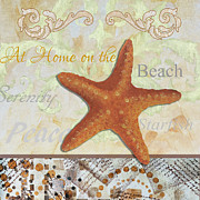 Coastal Decorative Starfish Painting Decorative Art By Megan Duncanson Print by Megan Duncanson