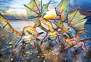 Animate Prints - Coastal Dragons Print by Betsy A Cutler East Coast Barrier Islands