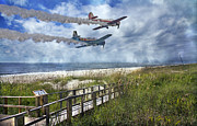 Airplane Posters - Coastal Flying Poster by Betsy A Cutler East Coast Barrier Islands